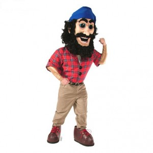 Lumberjack (with muscles and jumbo shoes shown) Mascot Costume 475C