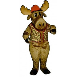 Milton Moose with Hunting Vest and Hat Mascot Costume 3113A-A